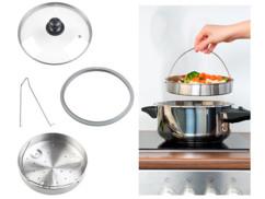 Accessoires de cuisson vapeur avec couvercle en verre, panier à étuver et support