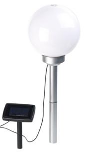 Borne lumineuse sphérique à LED Ø 20 cm avec effet lumineux rotatif & piquet