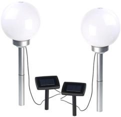 Borne lumineuse sphérique à LED Ø 20 cm avec effet lumineux rotatif & piquet - x2