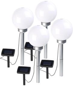 Borne lumineuse sphérique à LED Ø 20 cm avec effet lumineux rotatif & piquet - x4