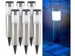 Bornes lumineuses solaires à LED avec capteur de luminosité - Rondes - x6