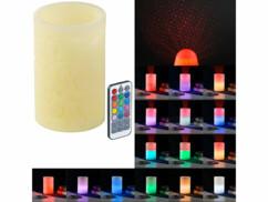 Bougie télécommandée en cire avec LED à couleur changeante et projecteur laser