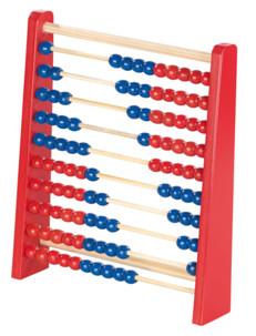 boulier en bois avec 100 boules bleues et rouges