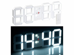 Horloge LED digitale radio-pilotée à luminosité variable avec fonction réveil