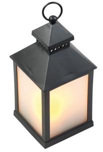 fausse lanterne led style rétro acier poudré avec effets flamme vacillante avec minuteur