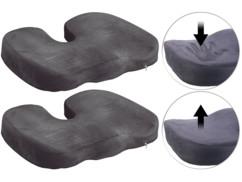 Lot de 2 coussins à mémoire de forme pour siège de voiture et bureau