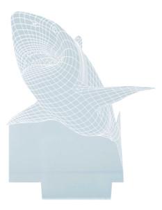 motif requin blanc hologramme 3d pour socle lumineux lunartec nx9153 bleu