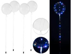 Pack de 4 ballons transparents Ø env. 40 cm avec guirlande à 40 LED - Colorées