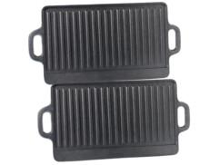 2 plaques-grils de cuisson en fonte - 46 x 23 cm
