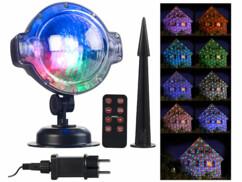 Projecteur effet chute de neige à LED blanches & multicolores