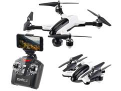 Drone quadricoptère compact et pliable avec caméra hd 720p et controle par telecommande ou application smartphone iphone Simulus gh4 cam