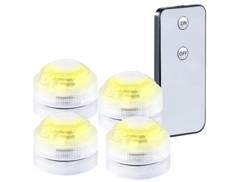 Set de 4 mini lampes immersibles à LED Blanc avec télécommande - 30 mm