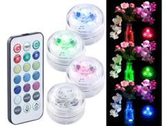 Set de 4 mini lampes immersibles à LED RVB avec télécommande - 30 mm