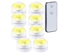 Set de 8 mini lampes immersibles à LED Blanc avec télécommandes - 30 mm