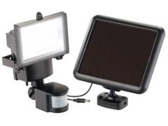 spot 60 led smd pour extérieur avec alimentation panneau led solaire et detecteur mouvements jusqu'à 12m luminea