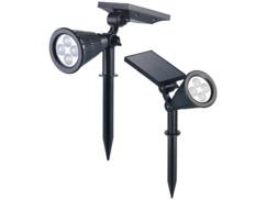 2 spots solaires à LED avec piquet 200 lm / 1,5 W