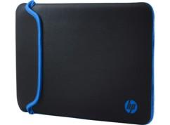 housse étui neoprène pour notebook laptop ordinateur pc portable hp chroma 14 pouces bleu noir reversible