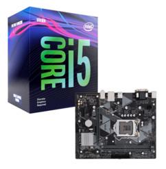 Kit avec une carte mère Gigabyte Z370M DS3 et un processeur Intel Core i5 9400F.