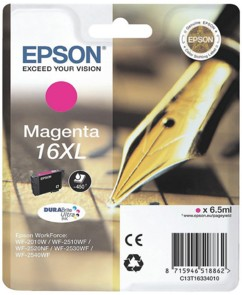 Cartouche originale Epson ''T163340'' N°16XL Stylo plume magenta