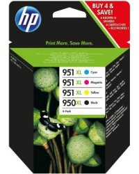 Cartouches originales HP N°950 XL (noir) / 951 XL (cyan/magenta/jaune)  - Pack