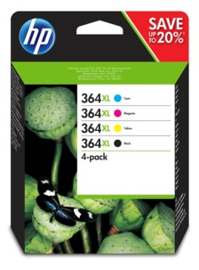 Pack de 4 cartouches originales HP n°364 N9J74A - XL
