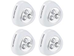 4 Lampes mobiles à LED ''Stick & Push'' avec interrupteur - Blanc