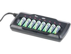 Chargeur pour 8 accus AA/AAA avec minuteur de sécurité