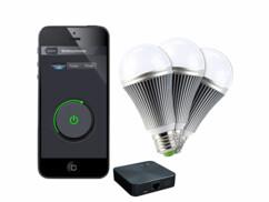 Kit d'éclairage auto : boîtier + 3 ampoules LED E27 blanc