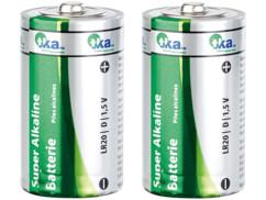 Lot de 2 piles super alcalines mono 1,5V type D