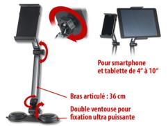 Support articulé pour iphone smartphone ipad tablettes sur bureau callstel