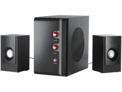 systeme sonore actif 2.1 avec subwoofer et 2 haut parleurs satellite et bass tube reflex msx340 auvisio