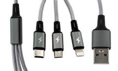 Câble de chargement 3 en 1 : Micro-USB / USB-C / Lightning - 120 cm