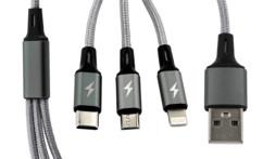Câble de chargement 3 en 1 : Micro-USB/ USB-C/ Lightning - 60cm