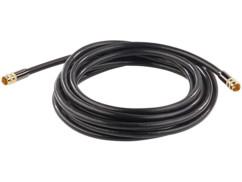 Cable antenne coaxial avec fiche f droit male male dorés haute performance auvisio 5m