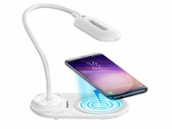 Lampe de bureau LED USB avec fonction de chargement compatible Qi