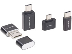Lecteur de cartes MicroSD et adaptateurs OTG vers Micro-USB et USB-C