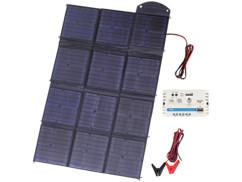 Panneau solaire pliable 150 W avec 12 cellules monocristallines.