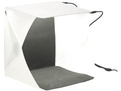 mini studio mobile pour photos de produits avec eclairage 4 angles intégré et fond blanc noir
