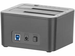 Double station d'accueil USB 3.0 pour disques durs et SSD SATA