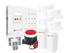 systeme d'alarme maison complet avec systeme wifi gsm xmd5400 detecteurs infrarouge detecteurs ouverture porte fenetre et telecommande visortech