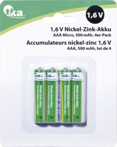 4 accus AAA nickel-zinc 1,6V - 500 mAh