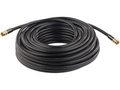 Cable antenne coaxial avec fiche f droit male male dorés haute performance auvisio 20m
