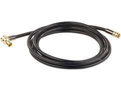câble video coaxial satellite fiche f avec connecteur coudé quadruple blindage fiches dorées 3 m