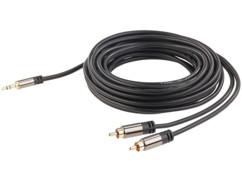 cable audio cinch male vers jack 3,5mm mâle connecteurs dorés 24 carats cable en cuivre double blindage 5 m