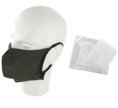 10 masques barrières lavables - Kaki - Avec filtres
