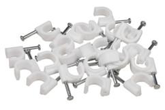 100 clips de fixation pour câbles de PC - 8 mm - Blanc