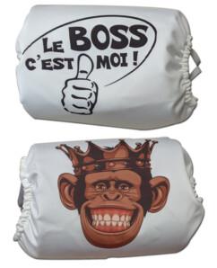 """Lot de 2 masques amusants, modèle """"Le BOSS c'est moi"""" et Singe."""