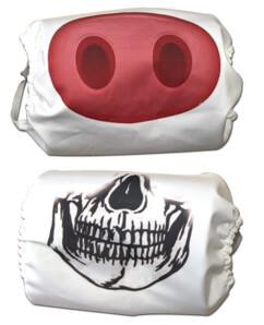 Lot de 2 masques fantaisie, modèle Cochon et Tête de mort.