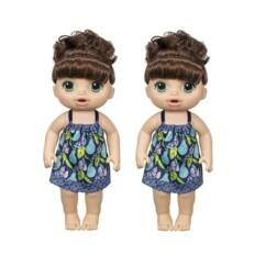 """Lot de 2 poupées interactives """"Baby Alive Mange à la cuillère""""."""