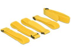 pack de 5 bande scrach jaune 300 mm 3 cm pour organisation et attache des cables